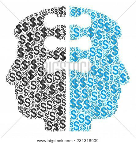Dual Head Interface Mosaic Of American Dollars. Vector Dollar Currency Pictograms Are Combined Into