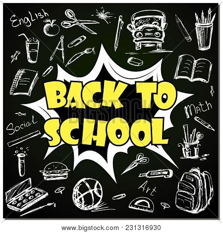 Back To School - Funny Pop Art Lettering With Signs And Icons On Blackboard, Vector Illustration
