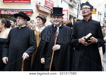 Blanes, Spain - Jul 4: In The Famous Carnival , Characters And Groups To The Rhythm Of Percussion. J