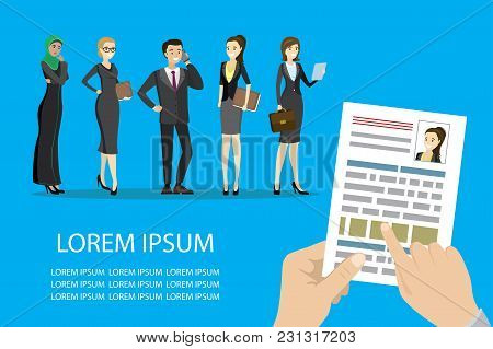 Search Job Design, Concepts For Human Resource And Recruitment. Searching Cv And Profile Of Employee