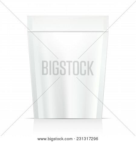 White Mock Up Blank Foil Food Or Drink Doypack Bag Packaging. Plastic Pack Template Ready For Your D