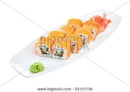 Japanese Cuisine - Sushi (Roll unagi maki syake) on a white background