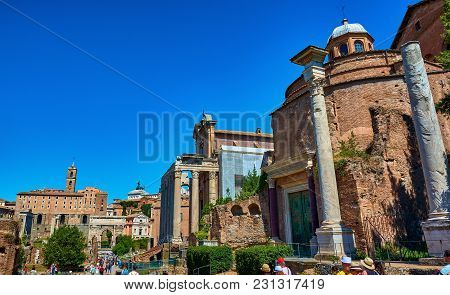 Roman Forum, Rome, Italy - May 17, 2017: View Of The Roman Forum With The Temple Of Romulus, The Tem
