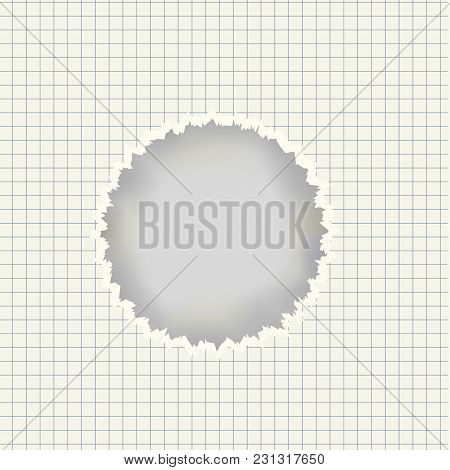 Vector Realistic Ruled Sheet With Torn Round Curled Edges Hole In The Center, Shadow And Place For T