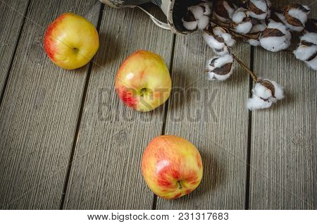 Three Apples On A Barn Wood Surface With Several Faux Cotton Buds