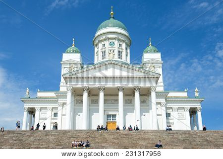 Helsinki, Finland - June 11, 2017: St. Nicholas Cathedral Close-up Against The Blue Sky
