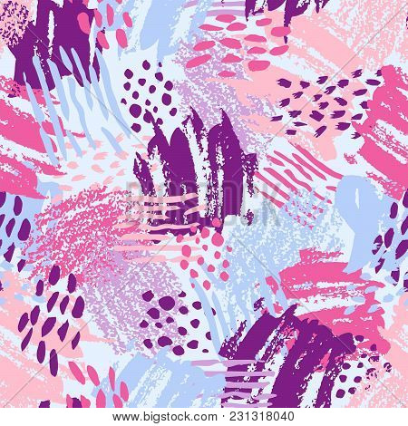 Vector Colorful Seamless Pattern With Brush Strokes And Dots. Pink Blue Violet Color On Light Backgr