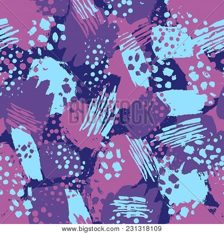 Vector Colorful Seamless Pattern With Brush Strokes And Dots. Pink Blue Violet Color On Dark Backgro