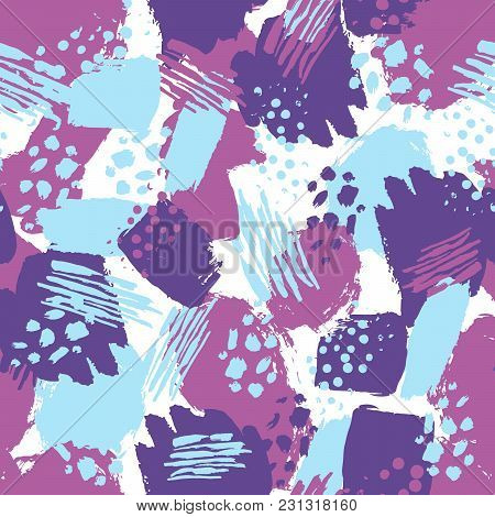 Vector Colorful Seamless Pattern With Brush Strokes And Dots. Blue Violet Color On White Background.