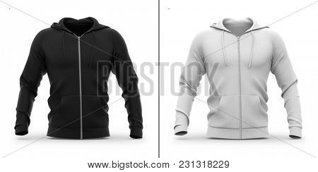Men's zip-up hoodie. Sweatshirt with pockets. Front view. 3d rendering. Clipping paths included: whole object, hood, sleeve, ripe tie, zipper. Highlights and shadows template mock-up.
