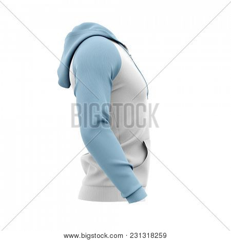 Men's zip-up hoodie. Sweatshirt with pockets. Side view. 3d rendering. Clipping paths included: whole object, hood, sleeve, zipper, rope tie. Isolated on white background.