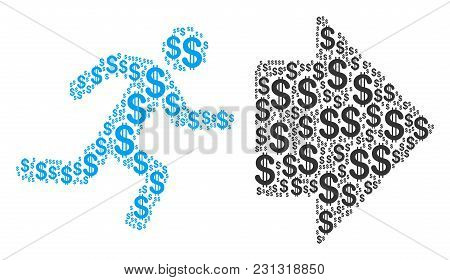 Exit Direction Collage Of Dollars. Vector Dollar Pictograms Are Grouped Into Exit Direction Illustra