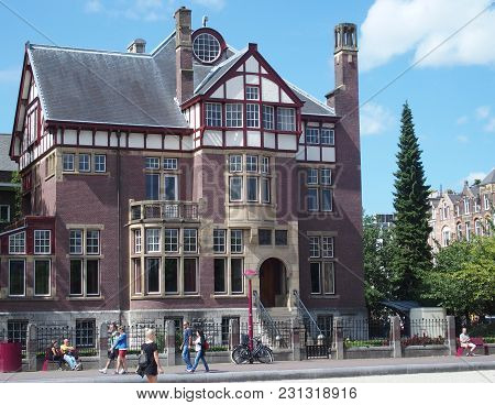 Amsterdam, Netherlands Europe On July 2015: Moco Museum In Villa Alsberg In City Center With Tourist