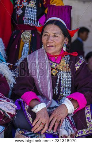 Leh, India - September 20, 2017: Unidentified Ladakhi Woman With Traditional Costumes  Participates