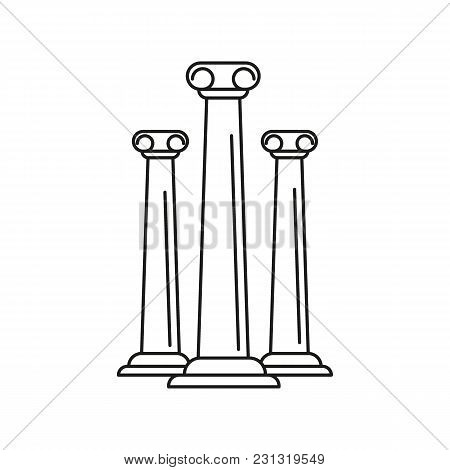 Ancient Columns Icon. Outline Ancient Columns Vector Icon For Web Design Isolated On White Backgroun