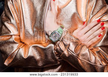 Young Business Woman Wearing Luxury Watch. Stylish Ladies Accesories