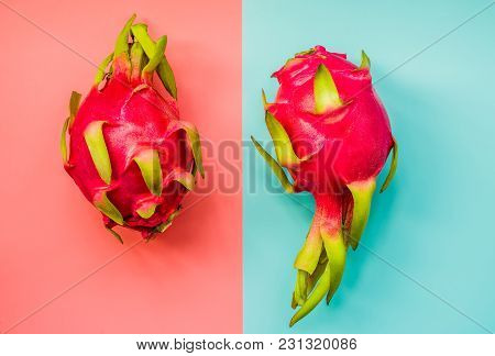 Exotic Fruit Dragonfruit With Pink And Blue Backgroundtop View. Dragon Fruit Or Pitahaya Studio Phot