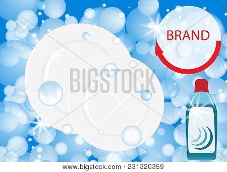 Dishwashing Liquid Products. Bottle Label Design. Dish Wash Advertisement Poster Layout. Vector Illu