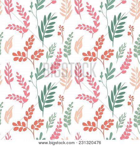 Vector Floral Seamless Pattern. Botanical Background With Flowers, Leaves, Branches, Plant, Petals,