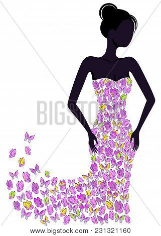 Silhouette Of A Girl In A Butterfly Dress Flying Apart. Eps8.