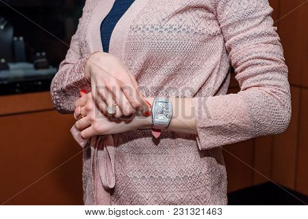 Young Business Woman Wearing Luxury Watch And Precious Jewelry. Stylish Ladies Accesories
