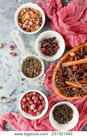 Collection Of Dry Tea, Rose Buds Tea, Fruit Tea, Cinnamon, Anise N Bowls
