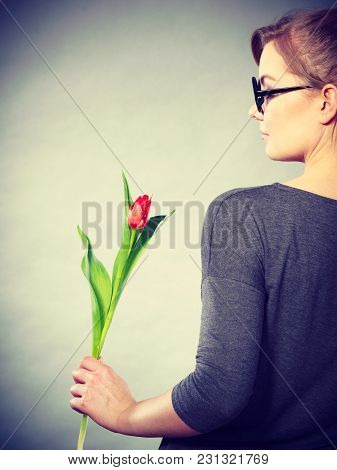 Beauty Feelings Seduction Nature Flora Feminine Concept. Elegant Woman With Flower. Lady In Glasses