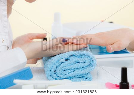 Woman Hand On Towel, Waiting For Gel Hybrid Manicure. Beauty Wellness Spa Treatment Concept