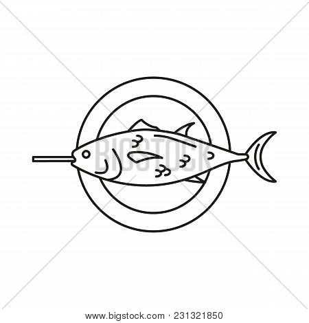 Grilled Fish Icon. Outline Grilled Fish Vector Icon For Web Design Isolated On White Background