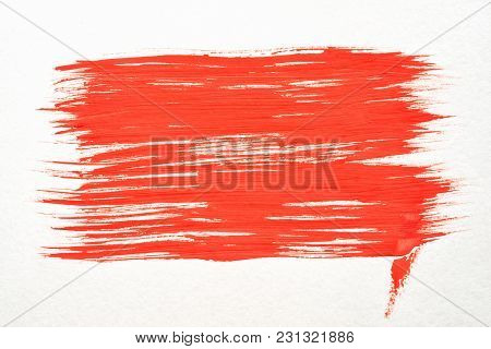 Red Rectangular Watercolor Texture Paint Stain Brush Stroke For Your Text, With Blurred Edge