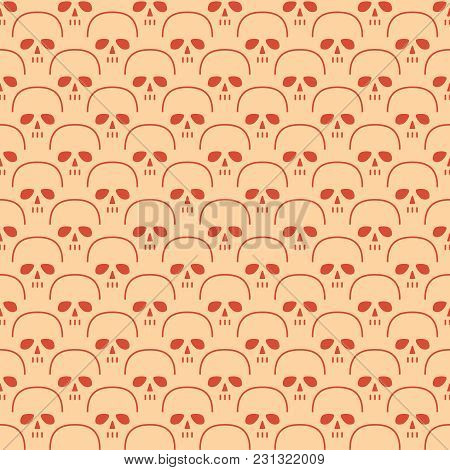 Skull Pattern. Seamless Background With Skeleton Head. Vector Illustration.