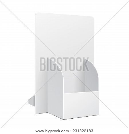 White Pos Poi Cardboard Blank Empty Show Box Holder For Advertising Fliers, Leaflets Or Products On