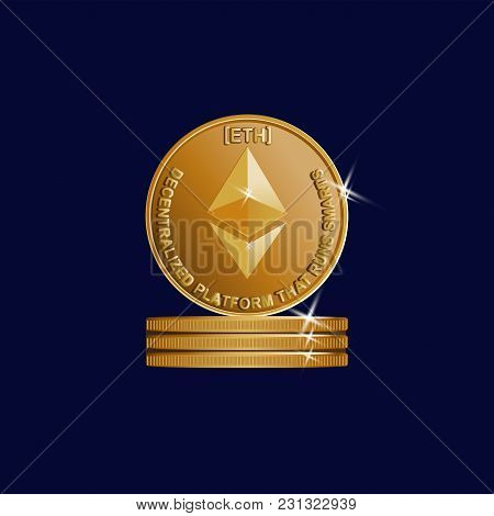 Gold Sign Of Crypto Currency. Ephyrium. Symbol Of A Physical Coin. Dark Blue Background. Cryptograph