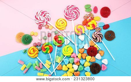 Candies With Jelly And Sugar. Colorful Array Of Different Childs Sweets And Treats.