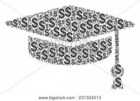 Graduation Cap Collage Of Dollar Symbols. Vector Dollar Symbols Are Combined Into Graduation Cap Com