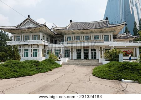 Pyongyang, North Korea - July 29, 2014: Pyongyang Embroidery Institute.