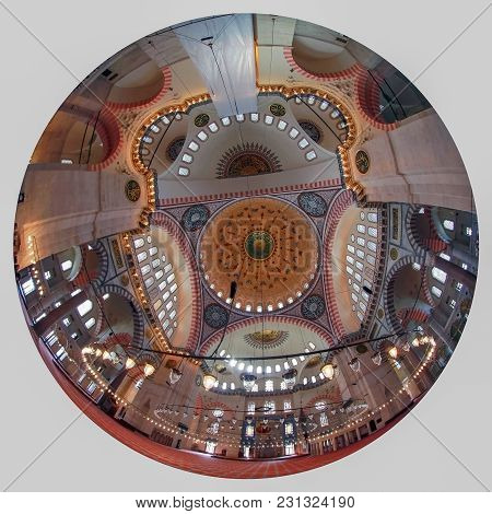 Istanbul, Turkey - March 27, 2012: Ceiling Of The Selaiman Mosque.