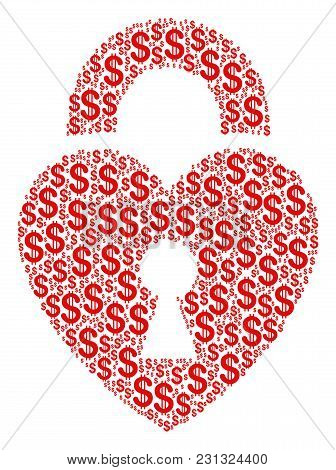 Heart Lock Composition Of Dollars. Vector Dollar Symbols Are Organized Into Heart Lock Collage.