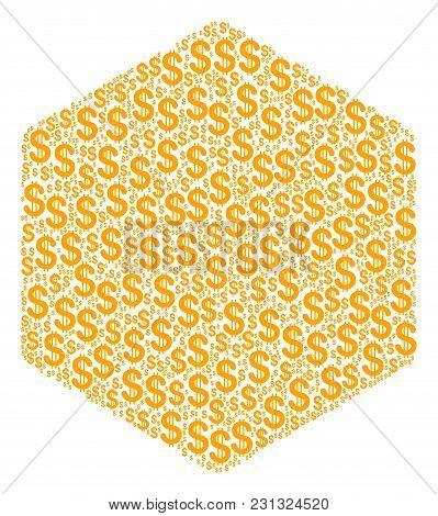 Hexagon Figure Mosaic Of Dollar Symbols. Vector Dollar Icons Are United Into Hexagon Figure Illustra