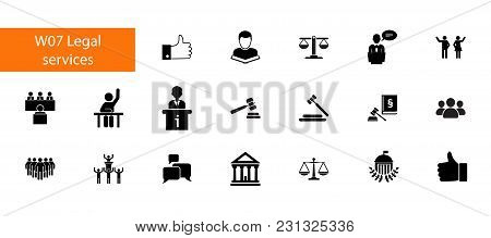 Nineteen Law Flat Vector Icons Collection On White Background. Can Be Used For Topics Like Legal Ser
