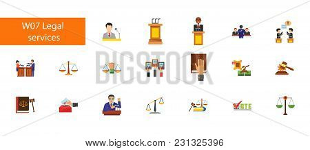 Nineteen Legal Service Flat Vector Icons Collection On White Background. Can Be Used For Topics Like