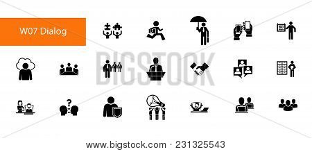 Nineteen Management Flat Vector Icons Collection On White Background. Can Be Used For Topics Like Of