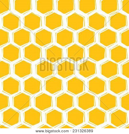 Vector Seamless Pattern Of Honeycombs. Background Design