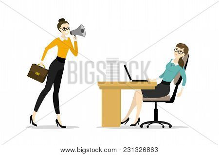 Business Woman Boss Screams Into A Megaphone By A Tired Office Worker Woman, Business Stress.isolate