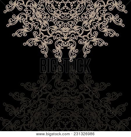 Vintage Invitation Card On Grunge Background With Lace Ornament. Template Frame Design For Card.can