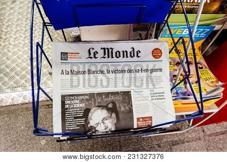 Paris, France - Mar 15, 2018: International Newspaper Le Monde With Portrait Of Stephen Hawking The