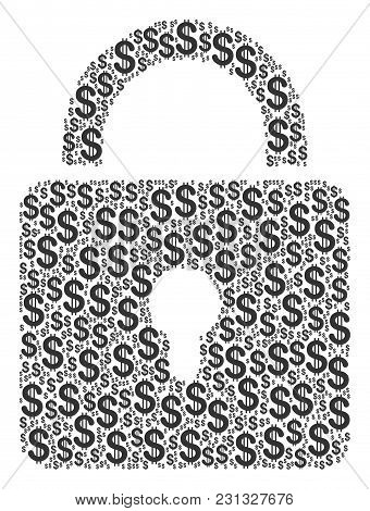 Lock Composition Of Dollars. Vector Dollar Currency Pictograms Are Grouped Into Lock Mosaic.