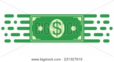 Sign Symbol Of Investment, Dollar Money Bill In Financial Movement, Vector Symbol Of Money Turnover.