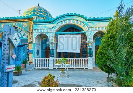 Isfahan, Iran - October 20, 2017: The Facade Of Imamzadeh Ahmad Mosque And Mausoleum In Old Town, Lo