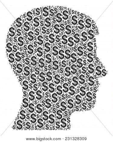 Man Head Profile Mosaic Of Dollars. Vector Dollar Currency Pictograms Are Combined Into Man Head Pro
